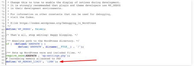 edit wp config file