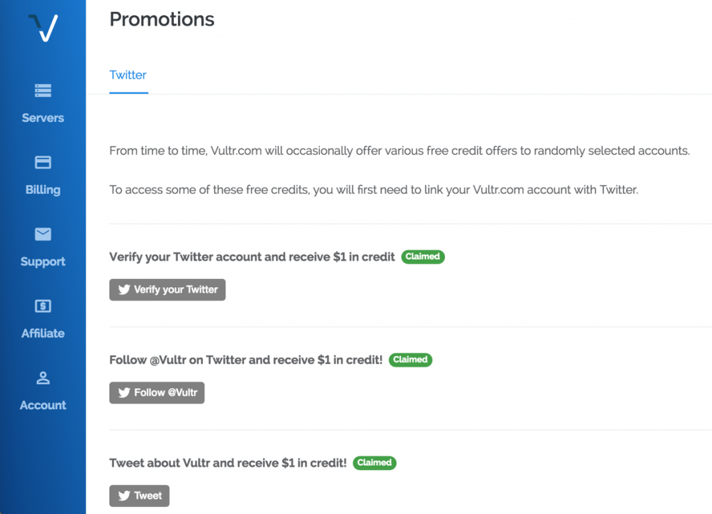 Free 3 usd credit when connect twitter account