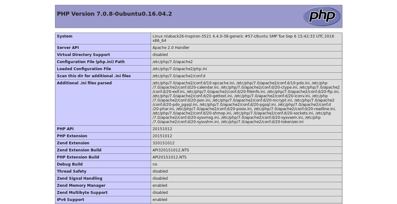 Php info Ubuntu