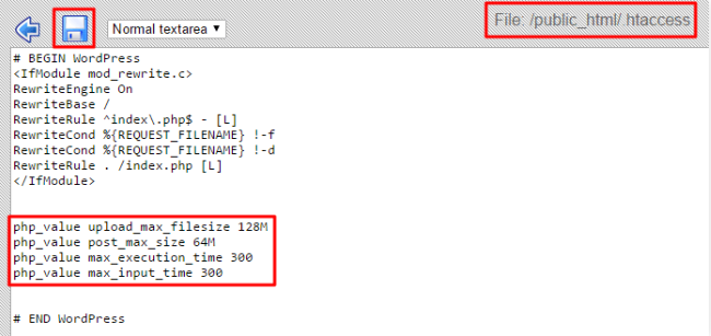 save htaccess file