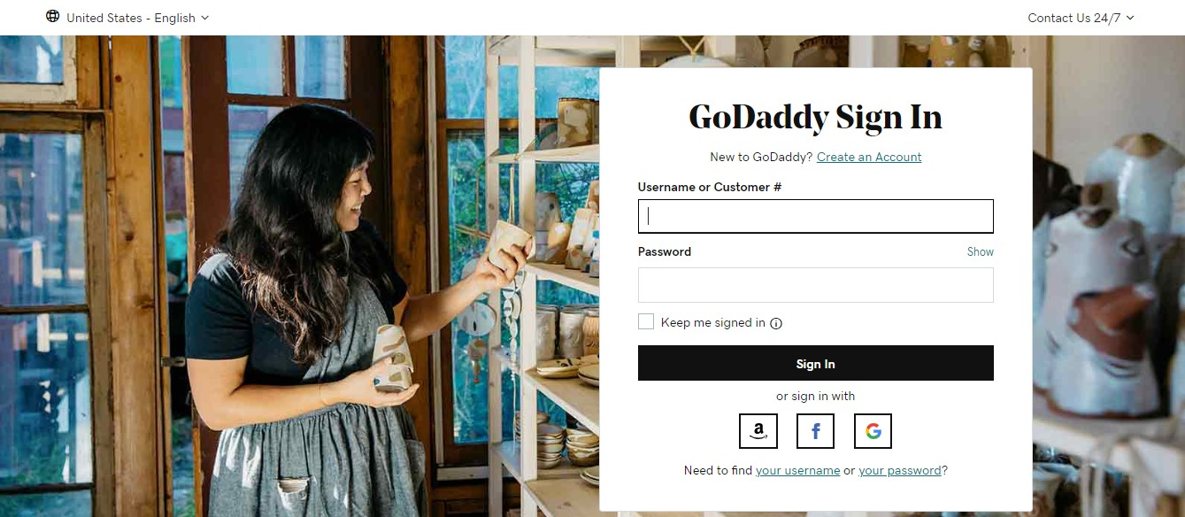 GoDaddy Sign in with Amazon Account